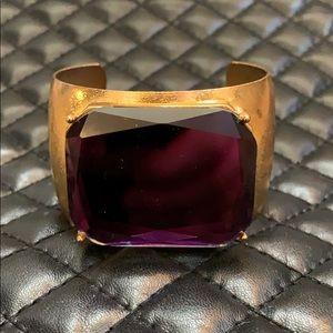 Free People Gold Purple Jeweled Cuff Bracelet